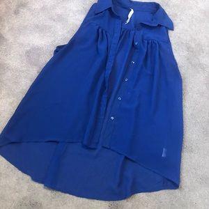 Royal blue sheer flowly tank blouse !
